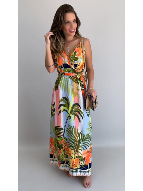 Vestido Longo Multicolor Estampa Tropical Azul