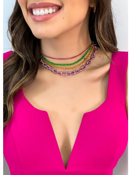 Choker Mix de Correntes Grumet Colors